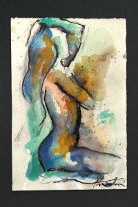 Abstract figurative study in ink by Danish-British artist, Alexandra Kay Vøhtz, in multi-coloured ink with black outline, side of figure and one hand on head.