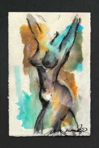 Abstract figurative study in ink by Danish-British artist, Alexandra Kay Vøhtz, in multi-coloured ink with black outline, arms raised.