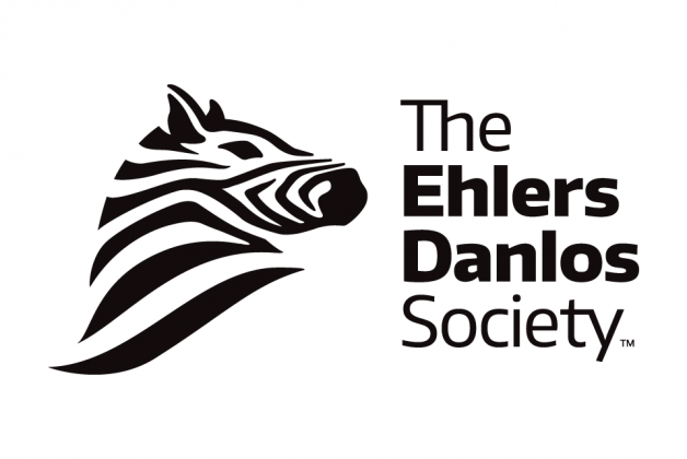 The Ehlers Danlos Society with a white background and black writing next to a drawing of a zebra
